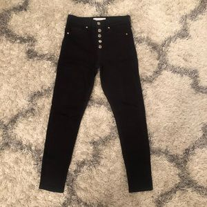 Topshop black button closure jeans, size 26